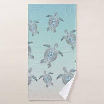 Beach Themed Silver Turtles Beach Style Bath Towel