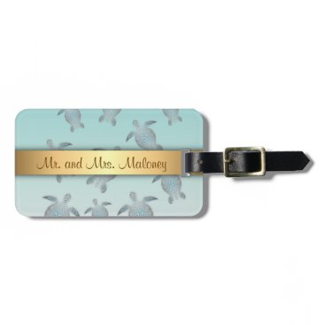 Beach Themed Silver Turtles Beach Style Luggage Tag