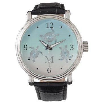 Beach Themed Silver Turtles Beach Style  Monogram Wristwatch