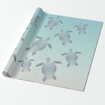 Silver Turtles Beach Style Wrapping Paper