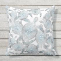Silver Turtles  Pattern Throw Pillow