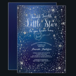 "Silver Twinkle Little Star Baby Shower Invitation<br><div class=""desc"">Beautiful Little star baby shower invitation featuring silver stars set on a dark blue background.  Flip our neutral baby shower invite over to view a coordinating  back for an extra special touch.  Visit our shop to view this invite in pink,  white &amp; blue.</div>"