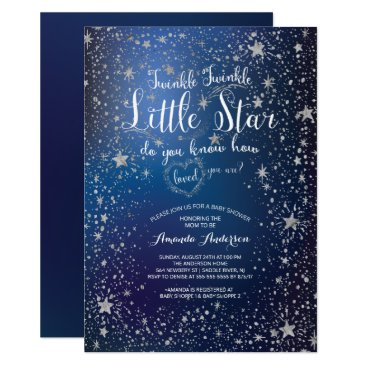 Toddler & Baby themed Silver Twinkle Little Star Baby Shower Invitation