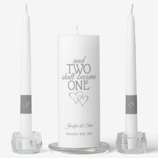 Silver Two Become One Unity Candle Set
