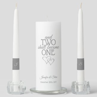Silver Two Become One Wedding Unity Candle Set