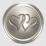 Silver Two Hearts Envelope Seal Classic Round Sticker