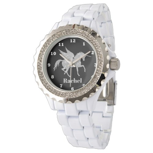 Silver unicorn add name women fantasy watch