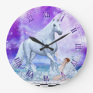 Silver Unicorn and Water Nymph Wall Clock