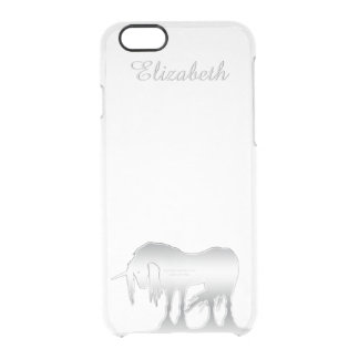 Silver Unicorn Clear iPhone 6/6S Case