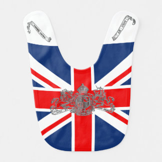 Silver Union Jack Dieu Mon Droit British Coat Arms Bib