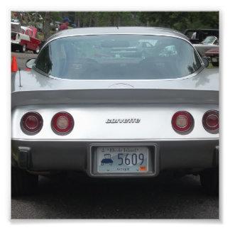 Silver vette rear view antique classic car photograph