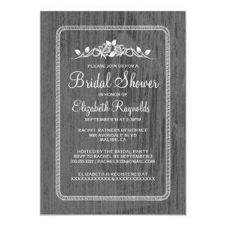 "Silver Vintage Barn Wood Bridal Shower Invitations 5"" X 7"" Invitation Card"