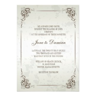 Silver Vintage Floral Wedding Invitation