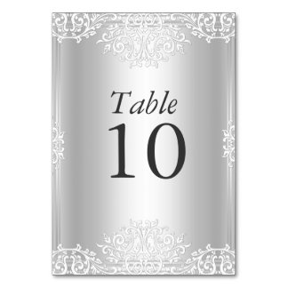 Silver Vintage Glamour Wedding Table Number