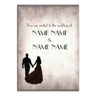 Silver Vintage Wedding in silhouette Card