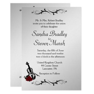 Silver Violin Music Wedding Invitation 5