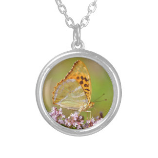 Silver-washed Fritillary butterfly on flower Round Pendant Necklace