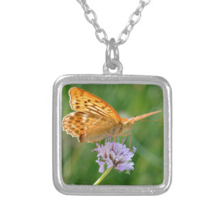 Silver-washed Fritillary butterfly on flower Square Pendant Necklace