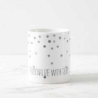 Silver Watercolor Confetti Dots Coffee Mug