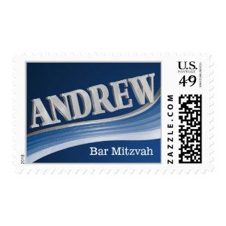 Silver Wave Andrew Bar Mitzvah Postage Stamp