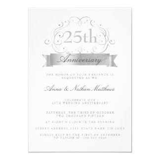 Silver Wedding 25th Anniversary Invitations