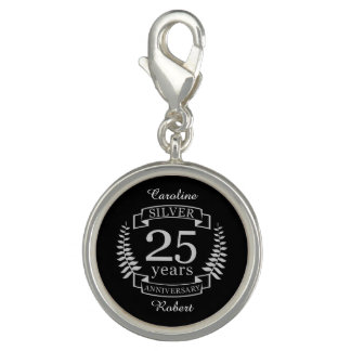 Silver wedding anniversary 25 years charm