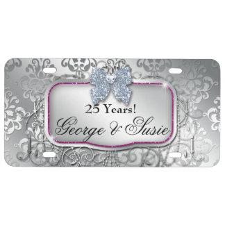 Silver Wedding Anniversary 25th License Plate