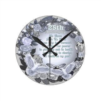 Silver Wedding Anniversary Wall Clocks