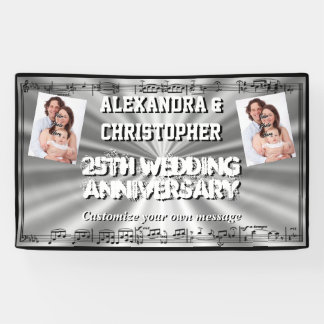 Silver wedding anniversary custom photo banner