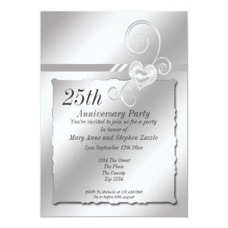 Silver Wedding Anniversary Heart Card