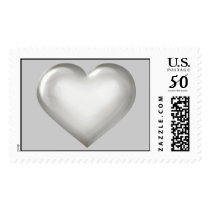 Silver wedding anniversary heart postage