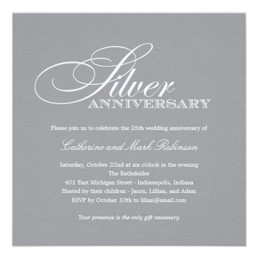 """Silver Wedding Anniversary Invitation 5.25"""" Square ..."""