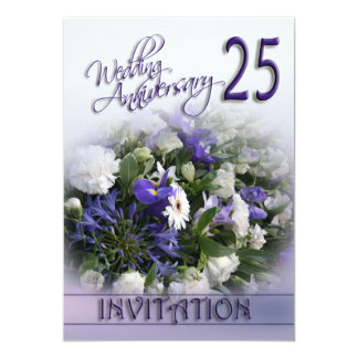 Silver Wedding Anniversary Invitation- Blue bouque Card