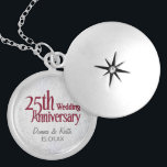 """Silver Wedding Anniversary Locket Necklace<br><div class=""""desc"""">Customize names and Anniversary date.</div>"""
