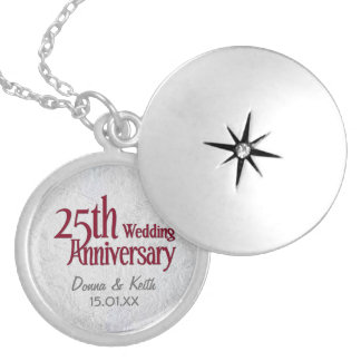 Silver Wedding Anniversary Locket Necklace