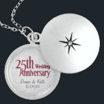 """Silver Wedding Anniversary Locket Necklace<br><div class=""""desc"""">Customize names and Anniversary date for a unique keepsake.</div>"""