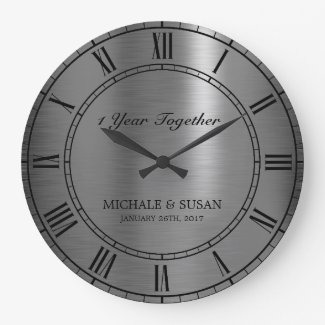 Silver Wedding Anniversary (Personalize) Large Clock