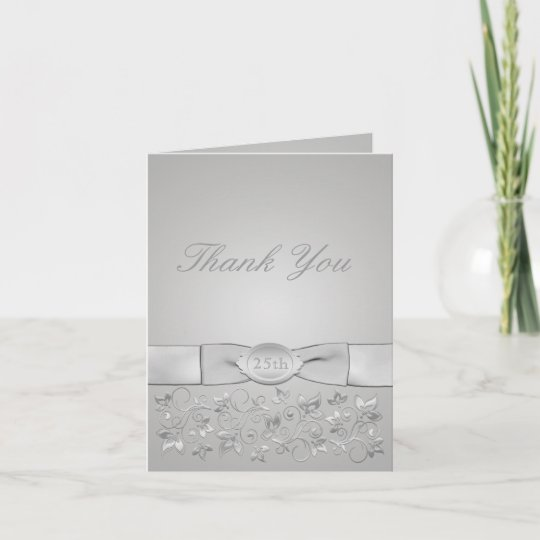 Silver Wedding Anniversary Thank You Card Zazzle Com