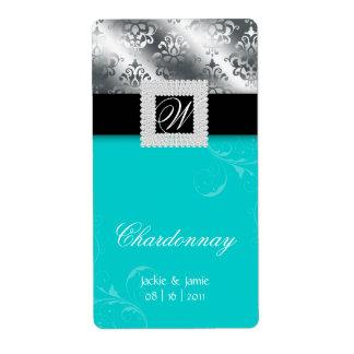 Silver Wedding Anniversary Wine Label Jewel Blue