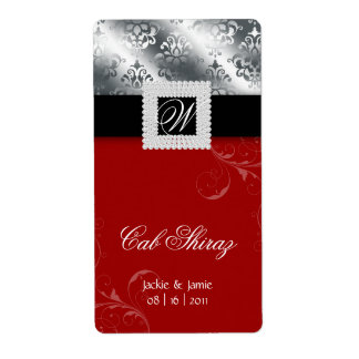 Silver Wedding Anniversary Wine Label Jewel Red