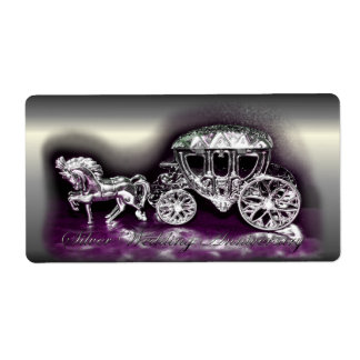 Silver Wedding Anniversary with a Silver Coach Shipping Label