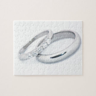 Silver Wedding Bands Save the Date Jigsaw Puzzle