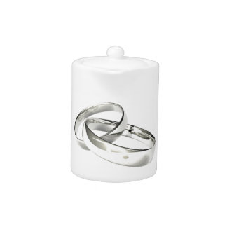 Silver Wedding Bands Save the Date Teapot