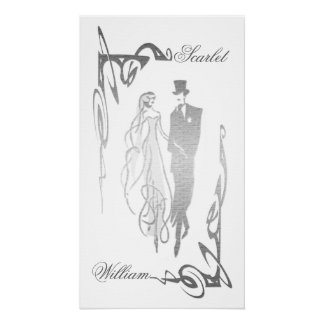 Silver Wedding Bride and Groom Customisable Poster