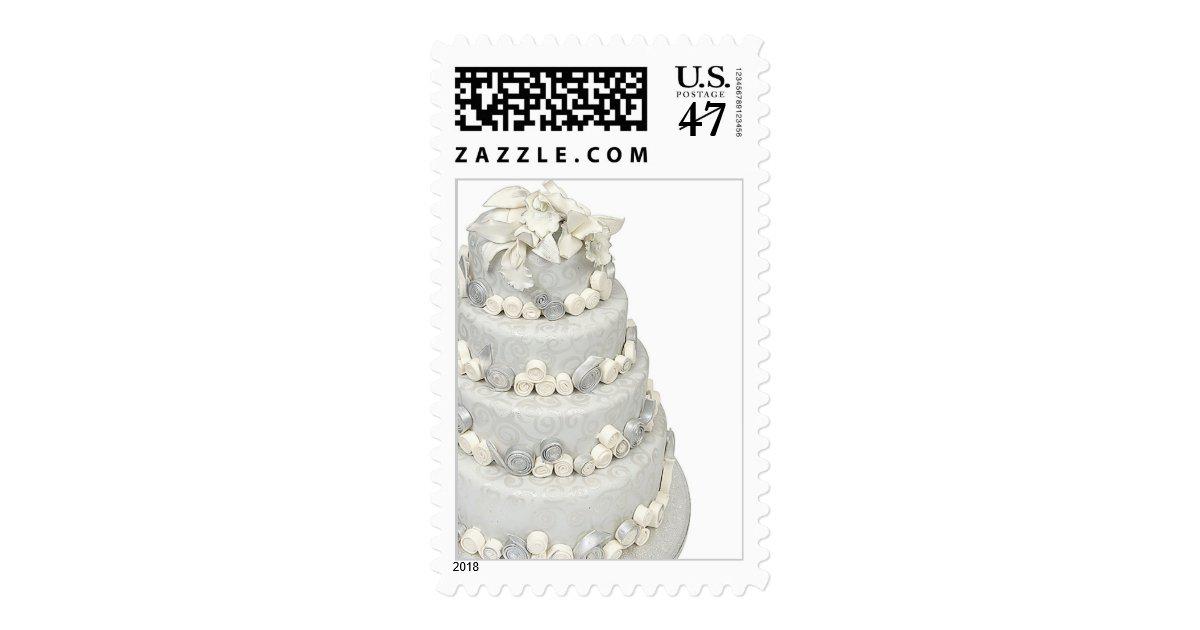 silver wedding cake stamps zazzle. Black Bedroom Furniture Sets. Home Design Ideas