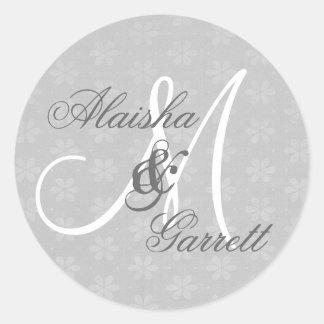 Silver Wedding Custom Monogram V20 Classic Round Sticker