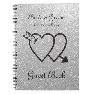 Silver wedding guest book | double heart and arrow spiral notebook