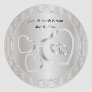 Silver Wedding Hearts and Rings Classic Round Sticker