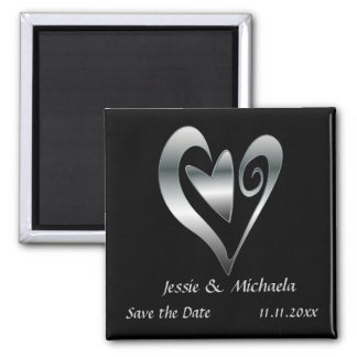 Silver Wedding hearts on Black  Save the Date Refrigerator Magnet