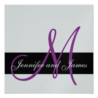 Silver Wedding Invitation Monogram Names Purple